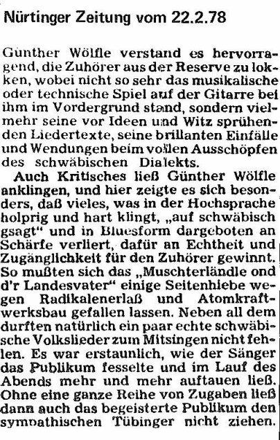 Nürtinger Zeitung 1978