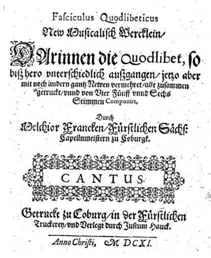 Melchior Franck Fasciculus quodlibeticus