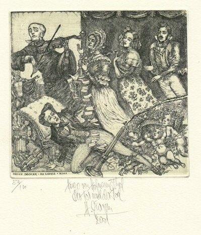 Harry-1949-Jürgens+Ex-Libris-Heinz-Decker-Szene-aus-Der-Tor-und-der-Tod-von-Hugo-von-Hofmannsthal